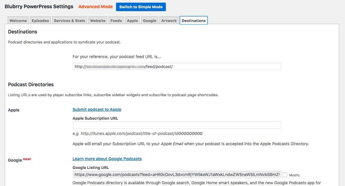PowerPress's Advanced Mode settings.