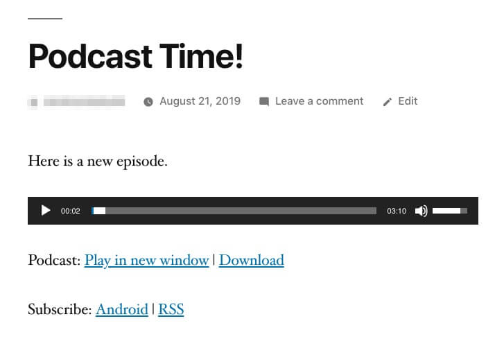 A podcast embedded in a post.