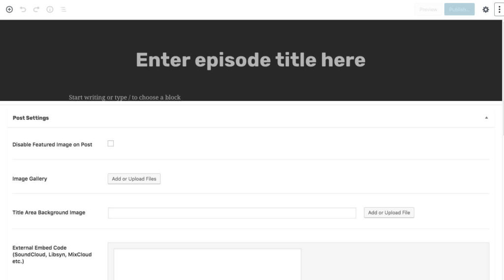 New podcast edit page.