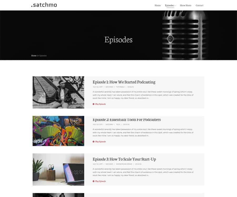 Satchmo WordPress Podcast Theme | SecondLineThemes
